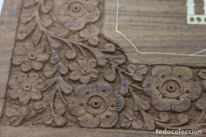 Antigüedades: caja de madera tallada con taj mahal de hueso. nueva a estrenar - Foto 3 - 183799661
