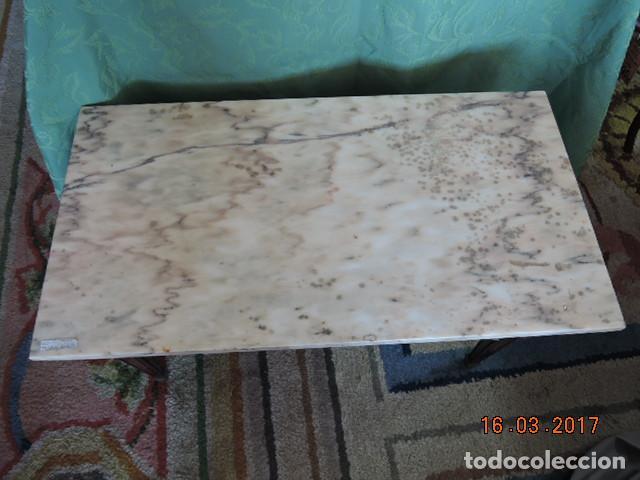MESA DE CENTRO RECTANGULAR MARMOL BLANCO (Antigüedades - Muebles Antiguos - Mesas Antiguas)