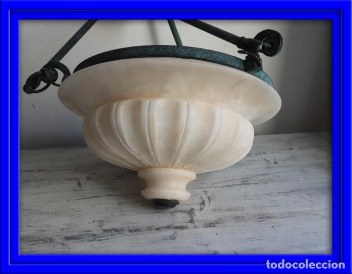LAMPARA DE ALABASTRO MUY DECORATIVA (Antigüedades - Iluminación - Lámparas Antiguas)