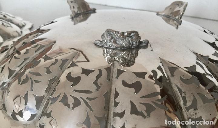 Antigüedades: PAREJA DE PLATOS DE PLATA 800-CINCELADOS CON HOJAS Y FLORES-VINTAGE 1950 - Foto 10 - 183818888