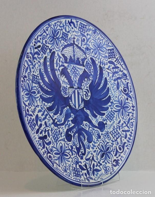 Antigüedades: Conjunto de tres platos de cerámica española, Fajalauza, Granada - Foto 2 - 183821252