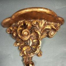 Antigüedades: PAREJA MÉNSULAS DE MADERA TALLADA DORADAS. Lote 183823578