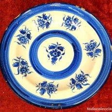 Antigüedades: PLATO. CERÁMICA ESMALTADA EN AZUL. CATALUNYA. ESPAÑA. SIGLO XIX. Lote 183824182