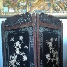 Antigüedades: BIOMBO CHINO MADERA PALOSANTO MARFIL Y NACAR, SIGLO XIX. Lote 183826490