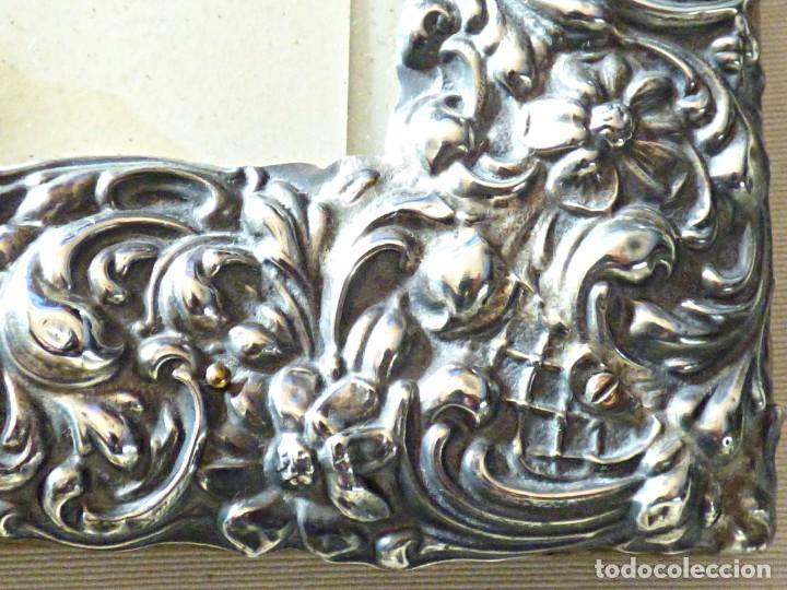 Antigüedades: MARCO DE PLATA DURAN. LEY 916. LABRADA CON INTRINCADOS RELIEVES FLORALES. MARCA DEL PLATERO . - Foto 3 - 183827107
