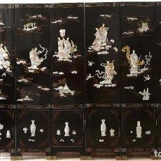 Antigüedades: BIOMBO ORIENTAL CROMANDEL DE 6 HOJAS MARFIL Y NÁCAR. Lote 183827111