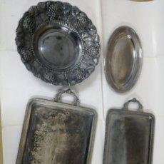 Antigüedades: LOTE DE 4 BANDEJAS ANTIGUAS PLATEADAS. Lote 183831376