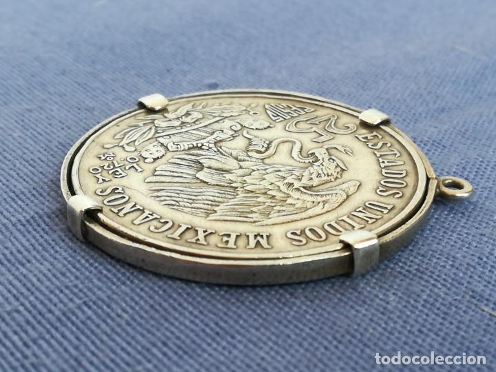 Antigüedades: Colgante con Moneda 25 pesos Estados unidos mexicanos 1968 en plata de ley 720 - Foto 5 - 183831787