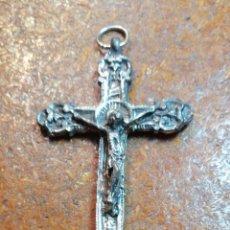 Antigüedades: ANTIGUA BENDITERA DE CRISTO CRUCIFICADO COLOR PLATEADO. Lote 183838551