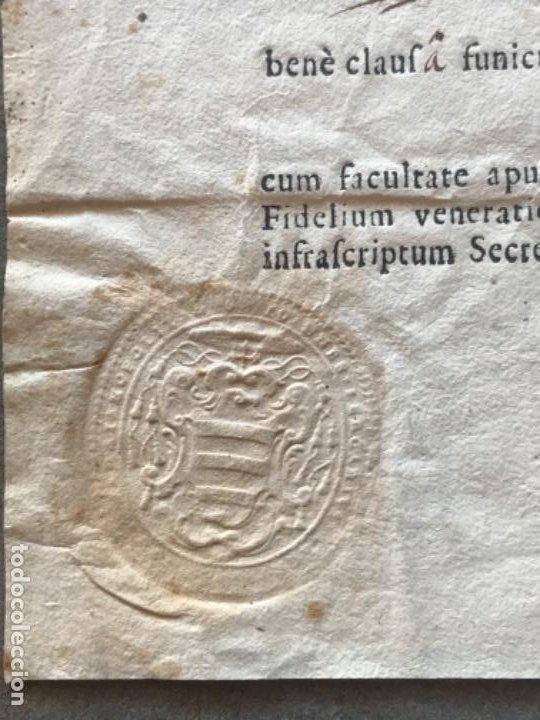 Antigüedades: CERTIFICADO DE RELIQUIA 1768. SAN IGNACIO DE LOYOLA. SELLO SECO. - Foto 2 - 183845358