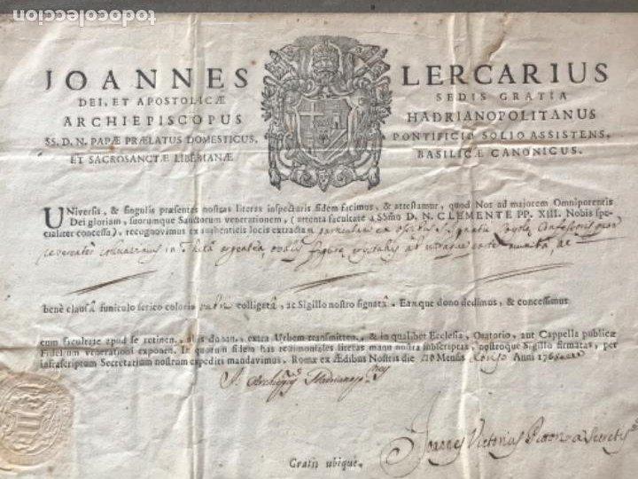 Antigüedades: CERTIFICADO DE RELIQUIA 1768. SAN IGNACIO DE LOYOLA. SELLO SECO. - Foto 3 - 183845358