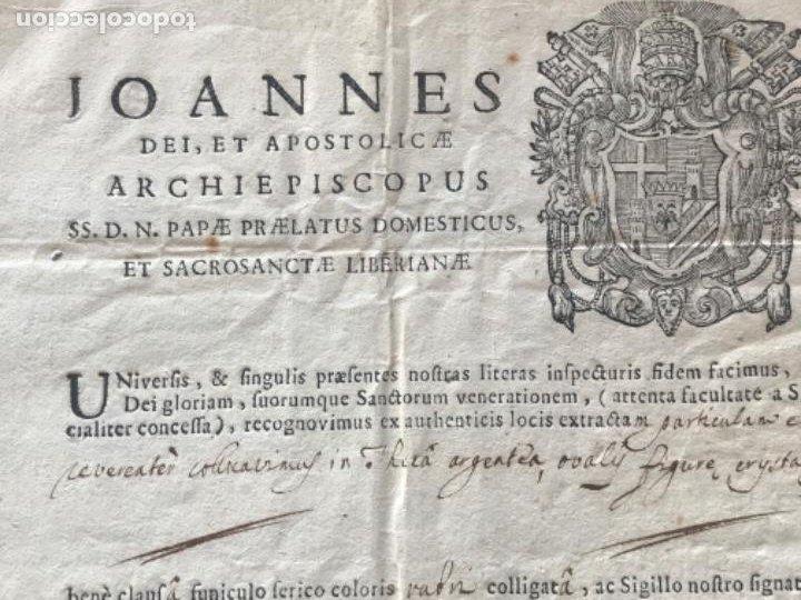 Antigüedades: CERTIFICADO DE RELIQUIA 1768. SAN IGNACIO DE LOYOLA. SELLO SECO. - Foto 4 - 183845358
