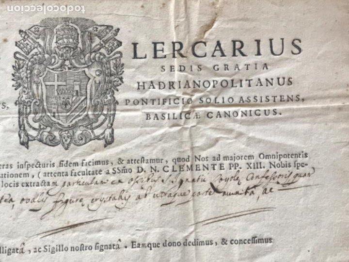 Antigüedades: CERTIFICADO DE RELIQUIA 1768. SAN IGNACIO DE LOYOLA. SELLO SECO. - Foto 5 - 183845358