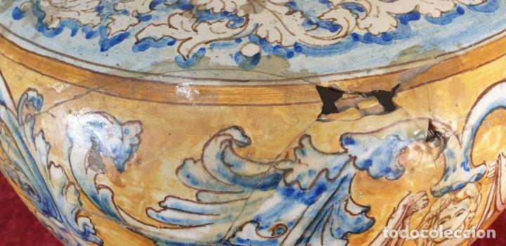 Antigüedades: GRAN JARRÓN CON PEANA. CERÁMICA ESMALTADA. TALAVERA. SIGLO XIX-XX. - Foto 12 - 183886468