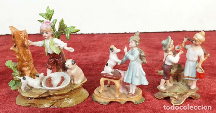 COLECCIÓN DE 3 FIGURAS EN PORCELANA. BISCUIT. PINTADAS A MANO. SIGLO XX (Antigüedades - Porcelana y Cerámica - Alemana - Meissen)