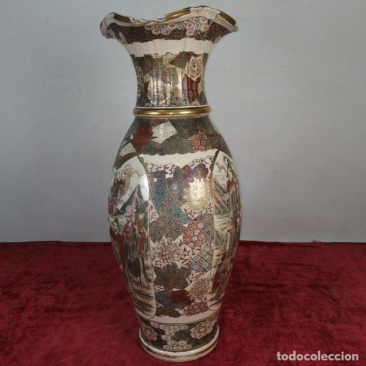 Antigüedades: GRAN JARRÓN SATSUMA. PORCELANA ESMALTADA Y DORADA. JAPÓN. SIGLO XIX - Foto 4 - 183898196