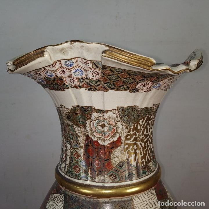 Antigüedades: GRAN JARRÓN SATSUMA. PORCELANA ESMALTADA Y DORADA. JAPÓN. SIGLO XIX - Foto 9 - 183898196