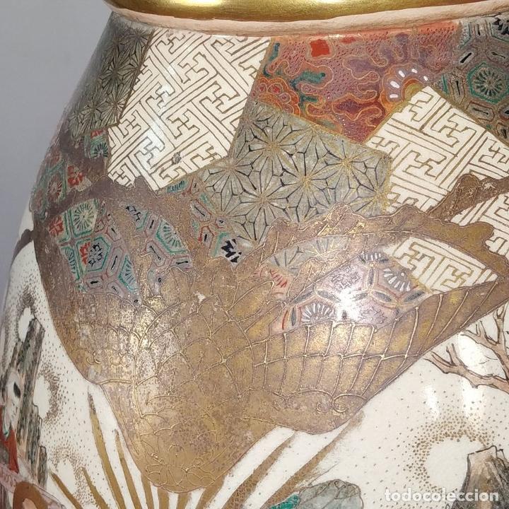 Antigüedades: GRAN JARRÓN SATSUMA. PORCELANA ESMALTADA Y DORADA. JAPÓN. SIGLO XIX - Foto 15 - 183898196