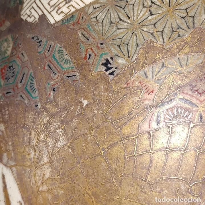Antigüedades: GRAN JARRÓN SATSUMA. PORCELANA ESMALTADA Y DORADA. JAPÓN. SIGLO XIX - Foto 16 - 183898196