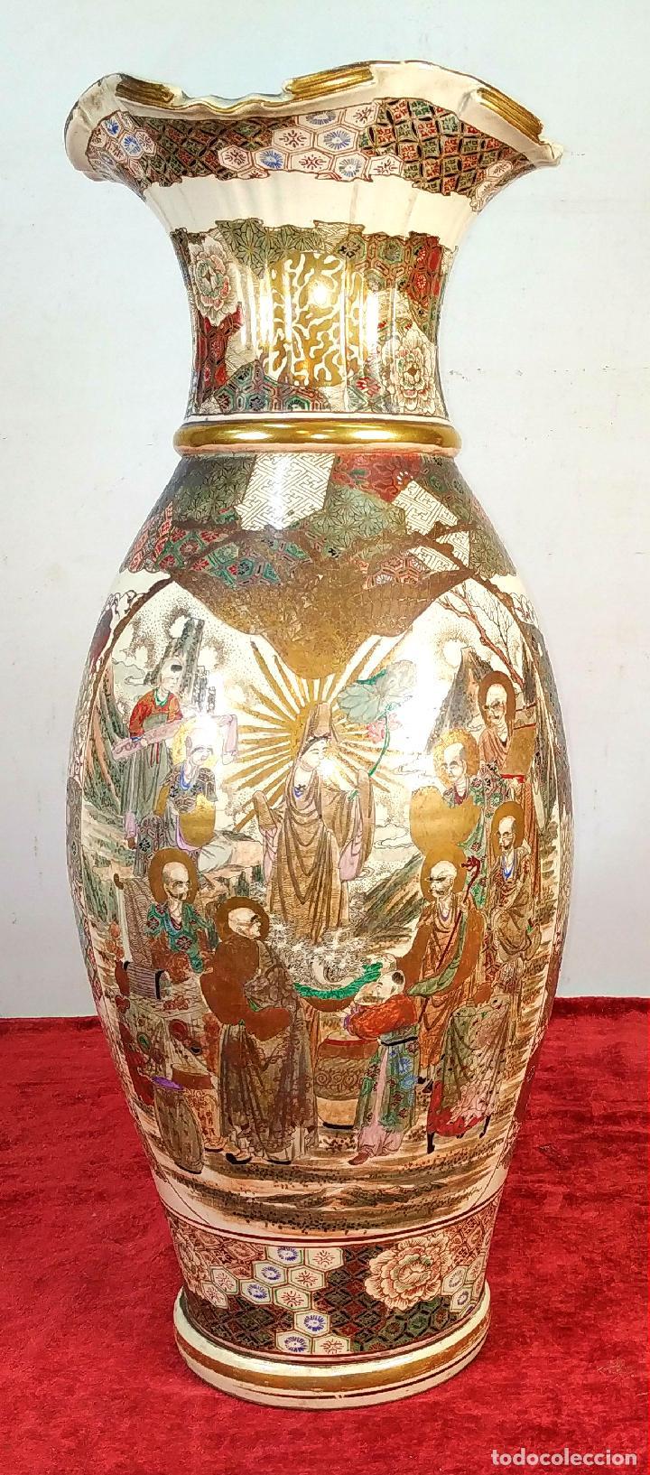 GRAN JARRÓN SATSUMA. PORCELANA ESMALTADA Y DORADA. JAPÓN. SIGLO XIX (Antigüedades - Porcelana y Cerámica - Japón)