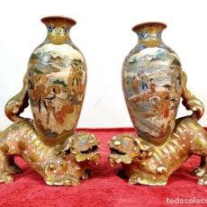 Antigüedades: PAREJA DE JARRONES EN ESMALTE MINIATURA SATSUMA. PORCELANA ESMALTADA. JAPÓN. SIGLO XIX. Lote 183905895