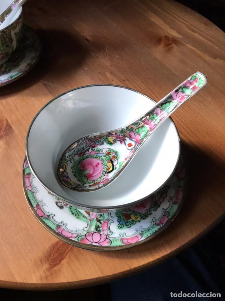 Antigüedades: Plato, cuchara y cuenco de porcelana china de Macao antiguo - Foto 2 - 183913566