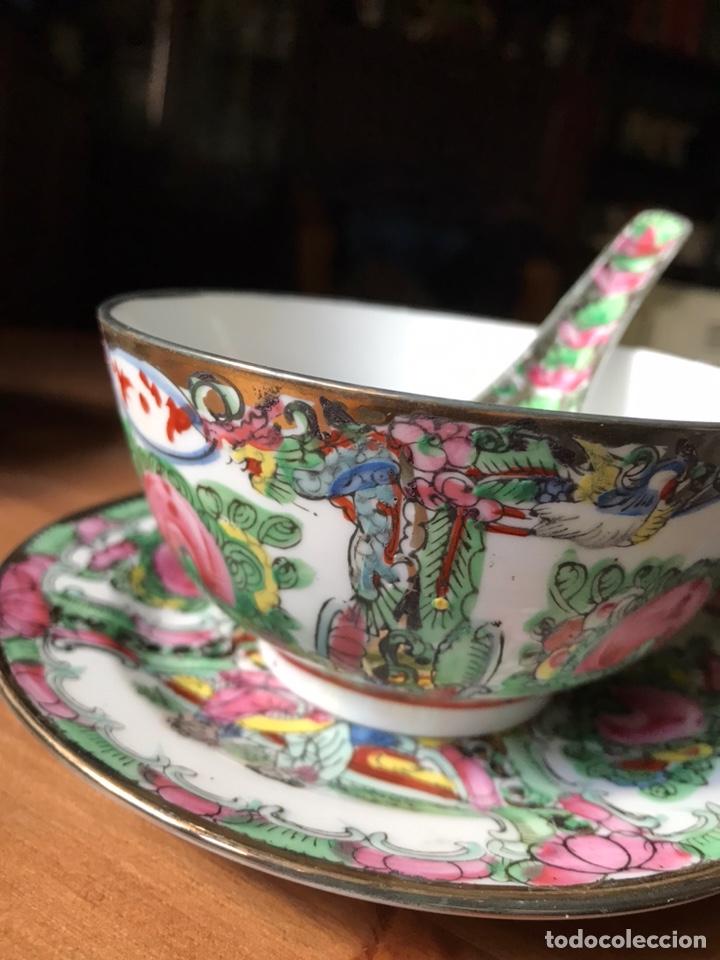 Antigüedades: Plato, cuchara y cuenco de porcelana china de Macao antiguo - Foto 3 - 183913566