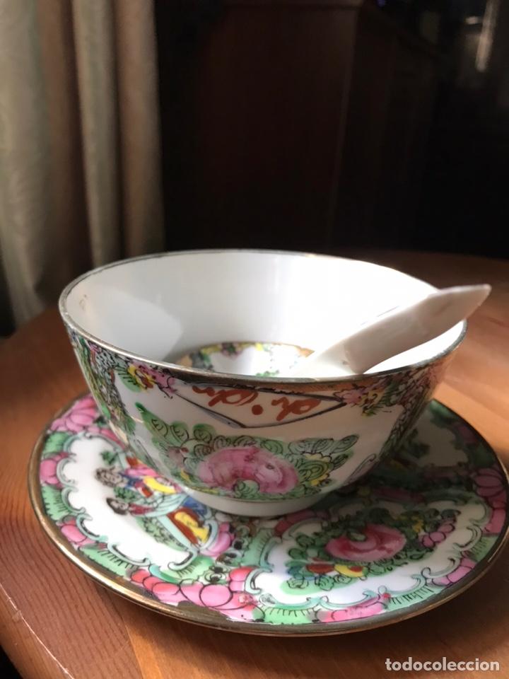 Antigüedades: Plato, cuchara y cuenco de porcelana china de Macao antiguo - Foto 5 - 183913566