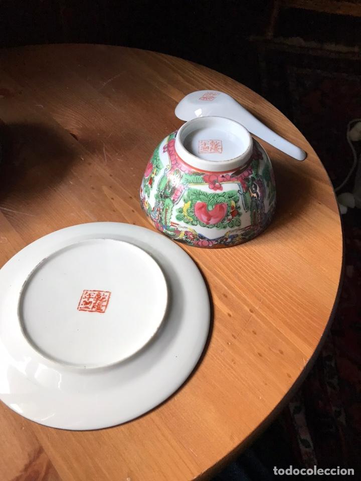 Antigüedades: Plato, cuchara y cuenco de porcelana china de Macao antiguo - Foto 7 - 183913566