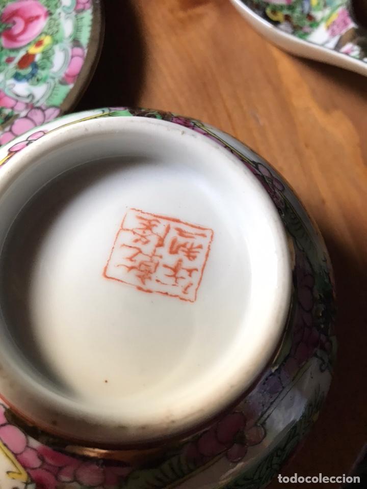 Antigüedades: Plato, cuchara y cuenco de porcelana china de Macao antiguo - Foto 9 - 183913566