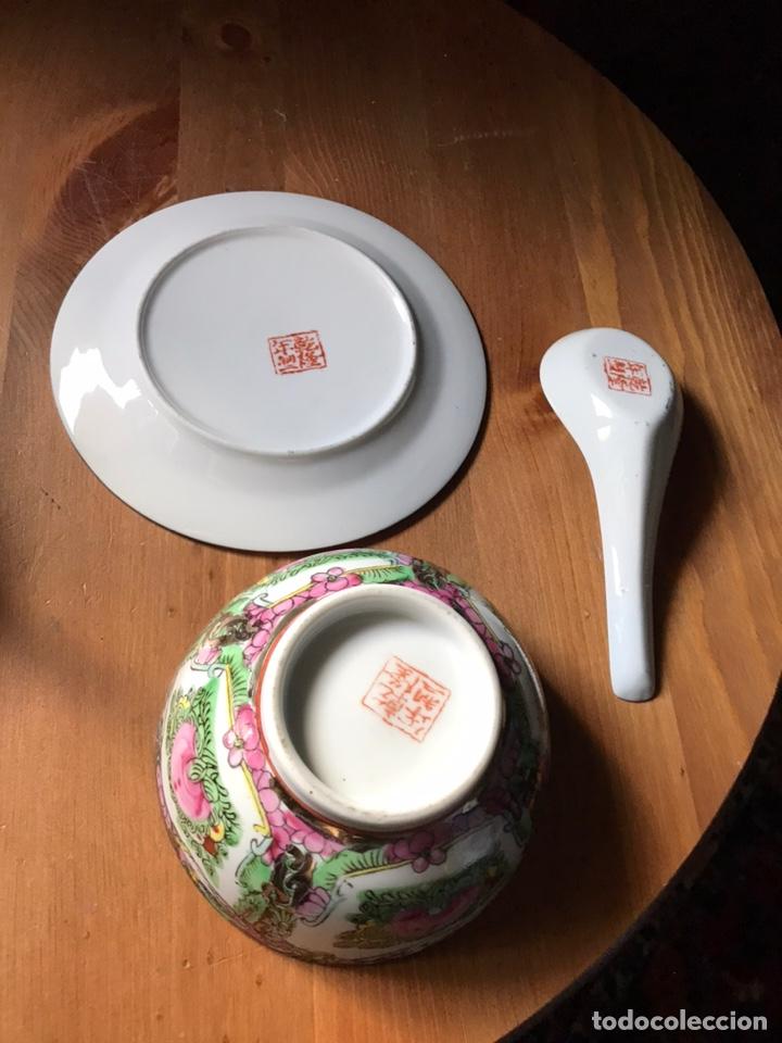 Antigüedades: Plato, cuchara y cuenco de porcelana china de Macao antiguo - Foto 11 - 183913566