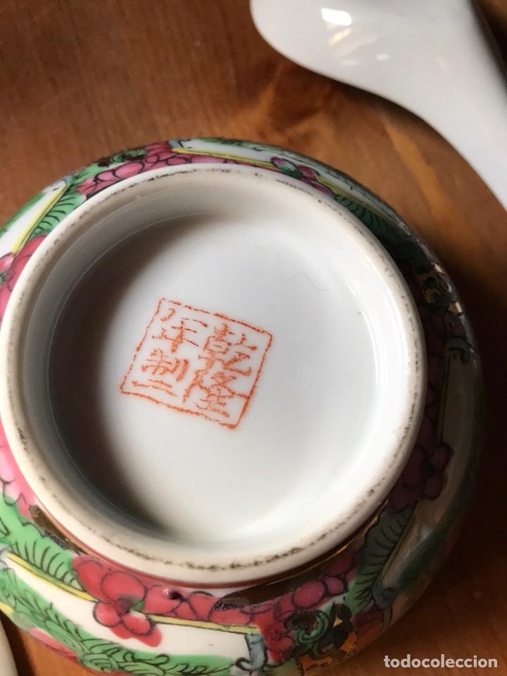 Antigüedades: Plato, cuchara y cuenco de porcelana china de Macao antiguo - Foto 14 - 183913566
