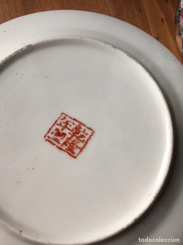 Antigüedades: Plato, cuchara y cuenco de porcelana china de Macao antiguo - Foto 15 - 183913566