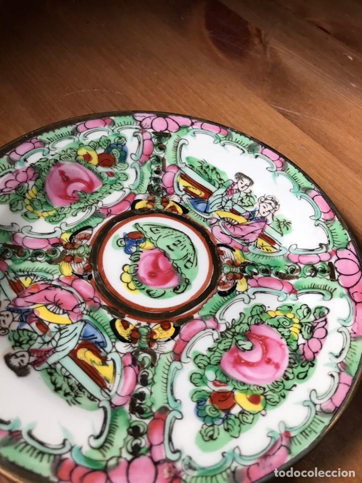 Antigüedades: Plato, cuchara y cuenco de porcelana china de Macao antiguo - Foto 16 - 183913566