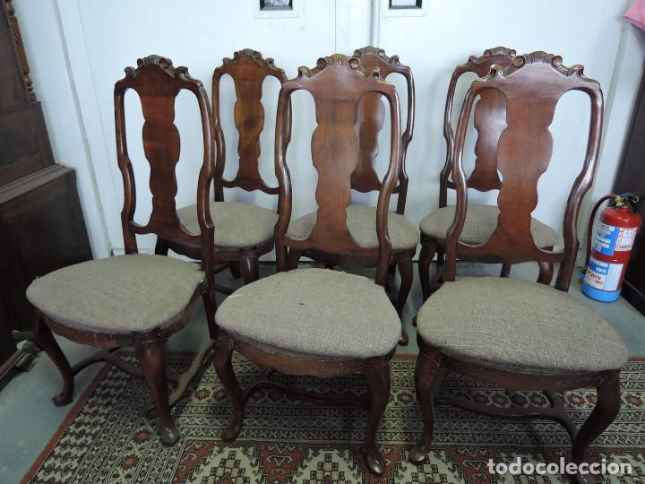 Antigüedades: LOTE 6 SILLAS REINA ANA SIGLO XIX BLANCAS Y RETAPIZADAS - Foto 6 - 183920157