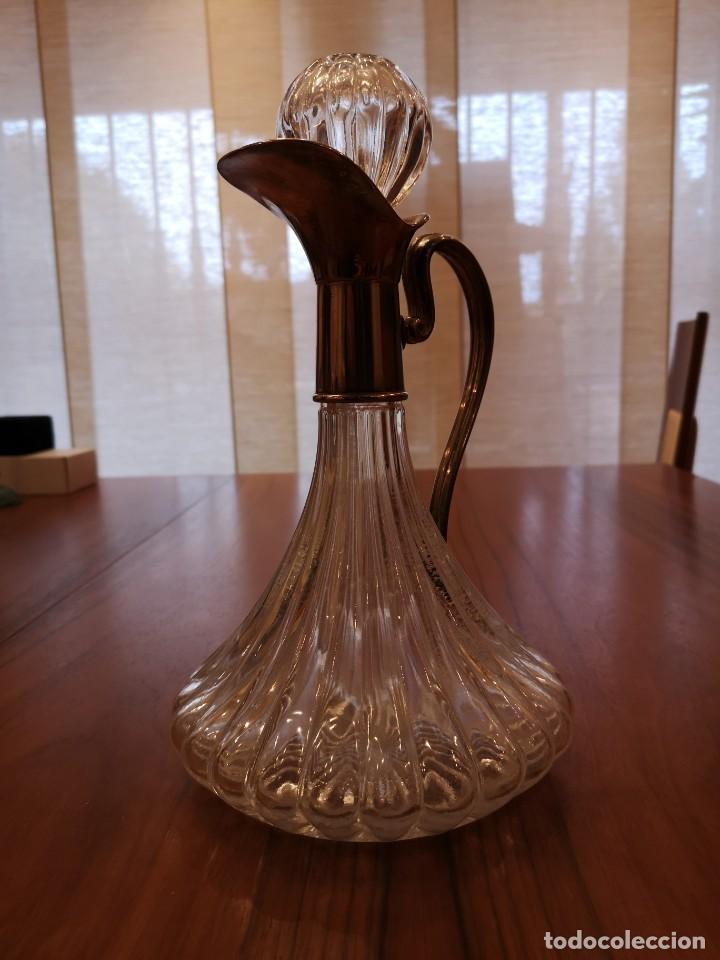 Antigüedades: Preciosa jarra cristal con plata de ley - Foto 3 - 183925616