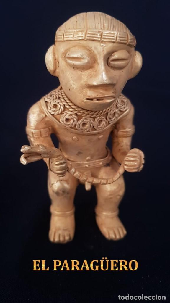 CULEBRERO FIGURA PRECOLOMBINA DE ORO TUMBAGA ORFEBRERIA QUIMBAYA)PESO 96 GR MIDE 9X5,5 CENTIMET-N68 (Antigüedades - Hogar y Decoración - Figuras Antiguas)