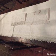 Antigüedades: ANTIGUO JUEGO DE CAMA / SÁBANAS DE ALGODÓN CON PUNTILLA HECHA A MANO AÑOS 20-30. Lote 183961022