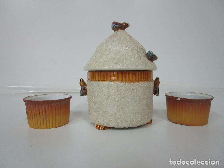 Antigüedades: Azucarera y 2 Tazas, Art Decó - Sello Walküre, Bavaria - Porcelana Alemana - Años 20-30 - Foto 4 - 183973185
