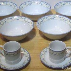 Antigüedades: 5 BOLS (CUENCOS) Y 2 JUEGOS CAFÉ, DE PORCELANA JHONSON BROS, LA ROCHELLE. Lote 183990713