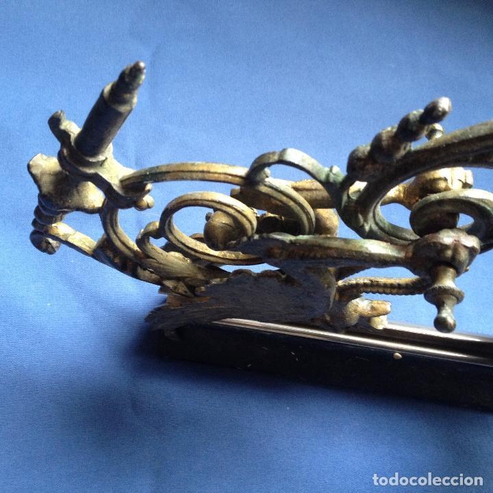 Antigüedades: ANTIGUO CANDELABRO -PORTAVELAS DE PARED CON DRAGÓN ALADO EN METAL - - Foto 7 - 184001995