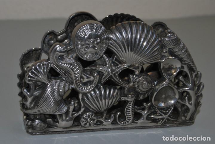 Antigüedades: SERVILLETERO MARINO - CONCHAS, CABALLITOS DE MAR - GODINGER SILVER PLATED - Foto 2 - 184016591