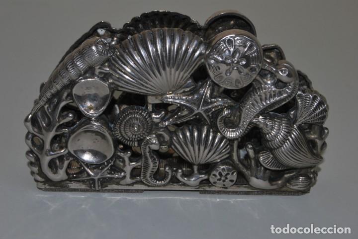 Antigüedades: SERVILLETERO MARINO - CONCHAS, CABALLITOS DE MAR - GODINGER SILVER PLATED - Foto 4 - 184016591