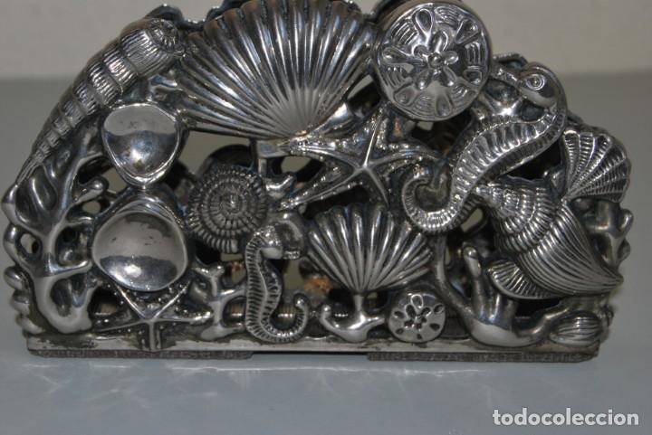 Antigüedades: SERVILLETERO MARINO - CONCHAS, CABALLITOS DE MAR - GODINGER SILVER PLATED - Foto 5 - 184016591
