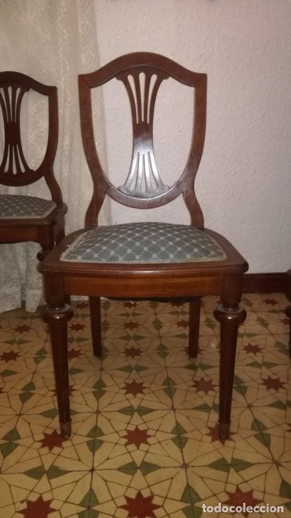 Antigüedades: 2 sillas caoba tapizadas - Foto 2 - 184054465