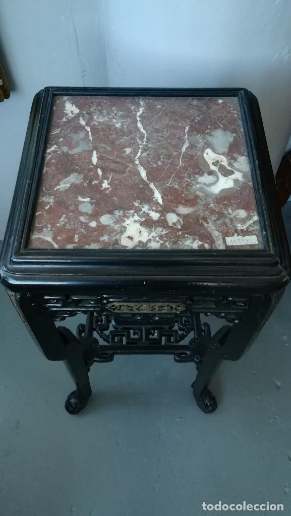 Antigüedades: PEANA ORIENTAL NEGRA CON MARMOL ROJO SIGLO XIX - Foto 6 - 184086052