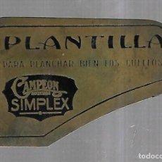 Antigüedades: PLANTILLA PARA PLANCHAR BIEN LOS CUELLOS. CAMPEÓN. PATENTADO. SIMPLEX. SIN FECHA. Lote 184099348