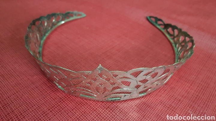 ANTIGUA TIARA DIADEMA EN BRONCE BAÑADA EN PLATA (Antigüedades - Moda y Complementos - Mujer)