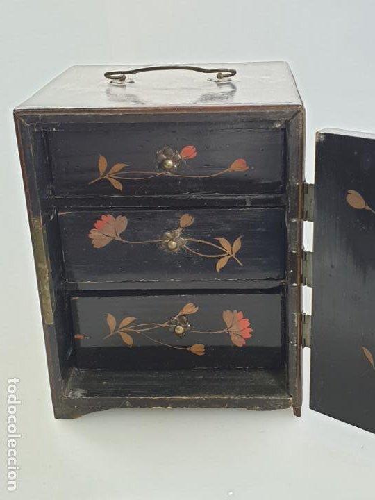 Antigüedades: CAJA MADERA CHINO CHINA SIGLO XIX - Foto 10 - 184110360