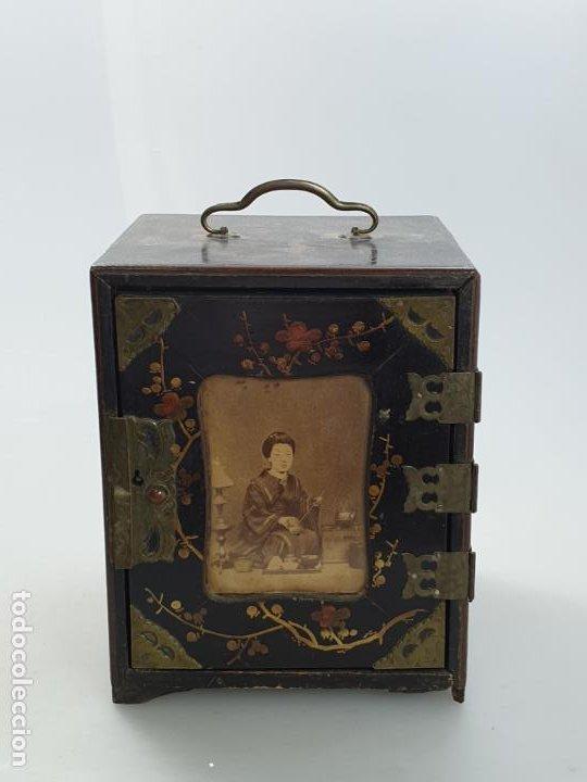 CAJA MADERA CHINO CHINA SIGLO XIX (Antigüedades - Varios)